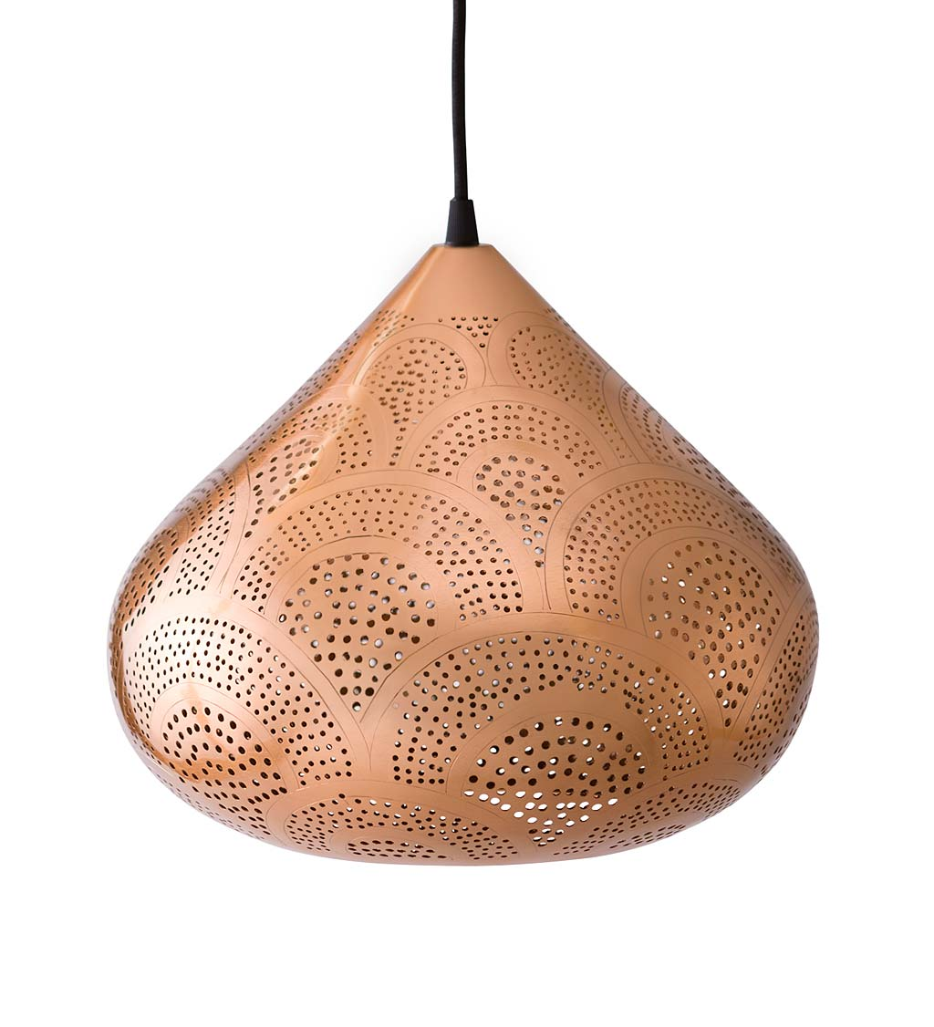 Copper Finish Moroccan Pendant Light- Small