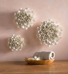 Gold-Rimmed White Ceramic Wall Flowers