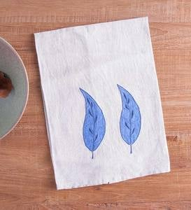 Set of 2 Linen Eco Leaf Kitchen Towels - Blue
