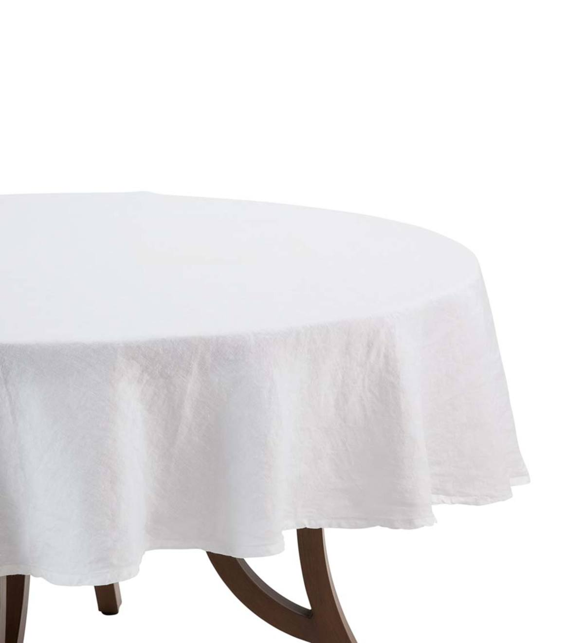 "White Linen Round Tablecloth 90"" - White"