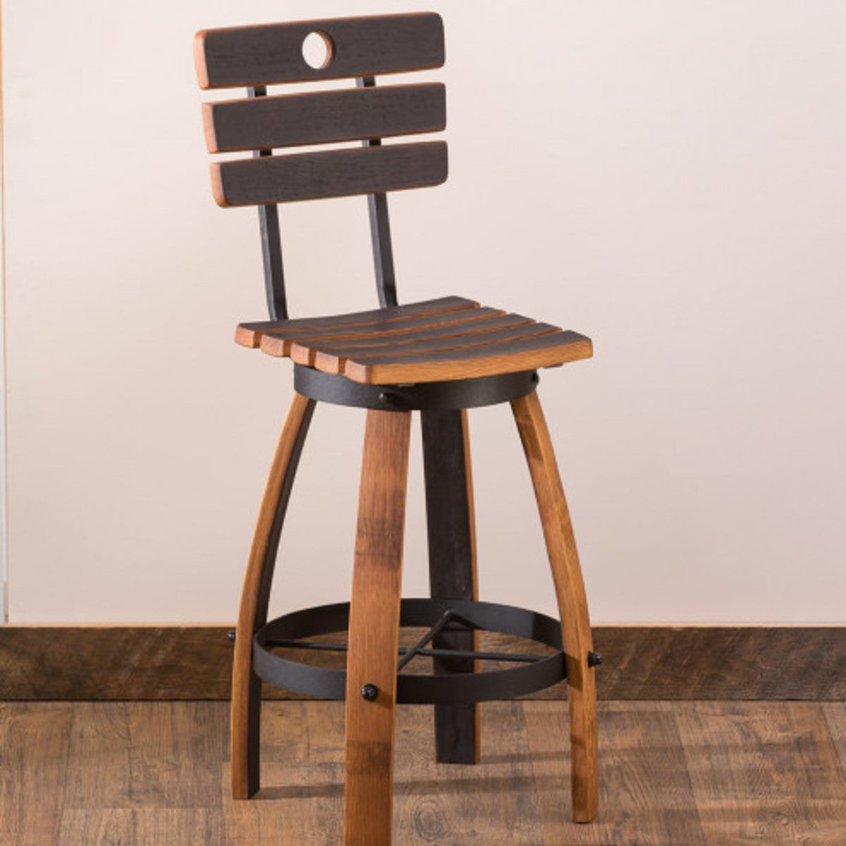 Astounding Repurposed Wine Barrel Backed Stool Vivaterra Caraccident5 Cool Chair Designs And Ideas Caraccident5Info