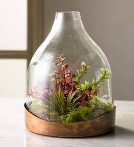 Glass Cloche with Copper Base