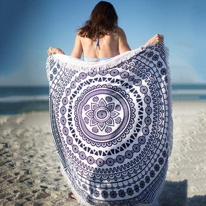 "Round Fringed Beach Blanket, 60"" dia."