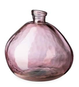 "Recycled Round Glass Balloon Vase, 13"" - Pink"