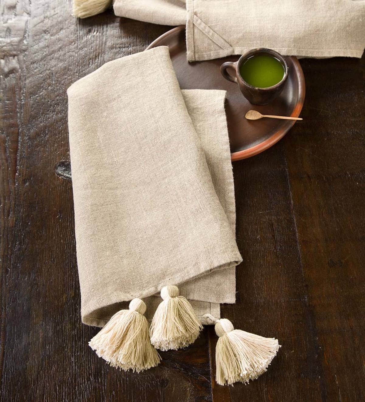 Set of 2 Linen Tasseled Tea Towels