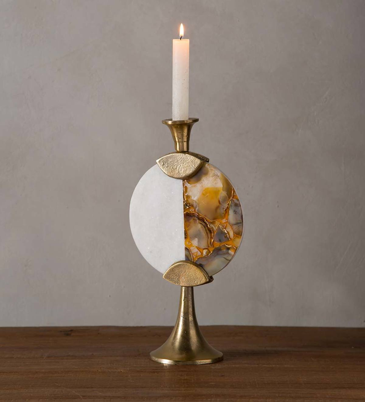 "Gold Agate and Marble Split Taper Candlestick, 12""H"