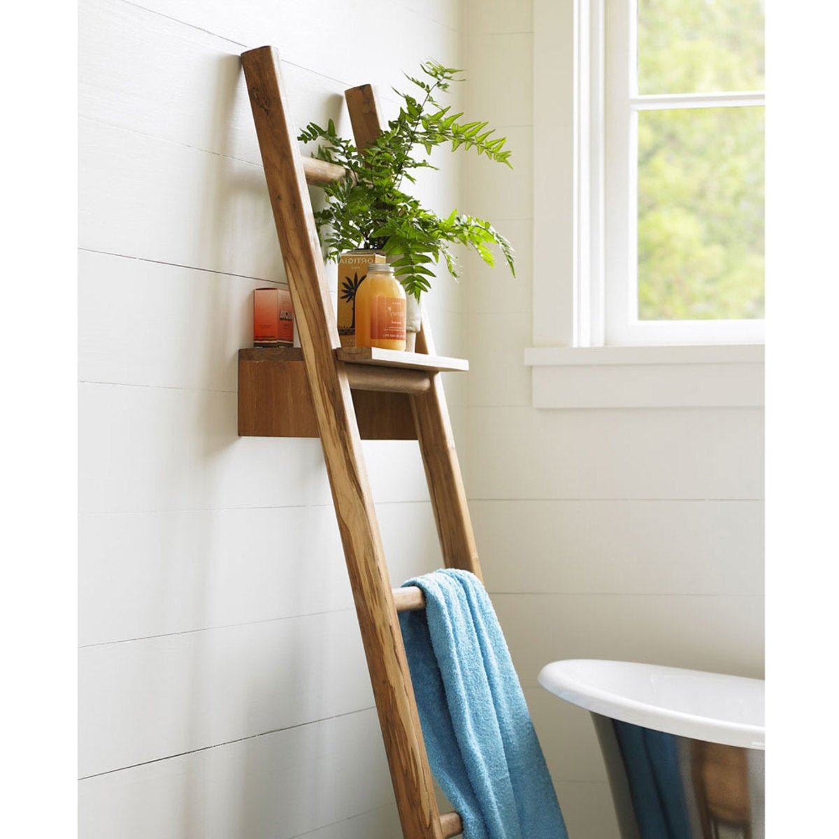 Scrap Teak Ladder with Shelf