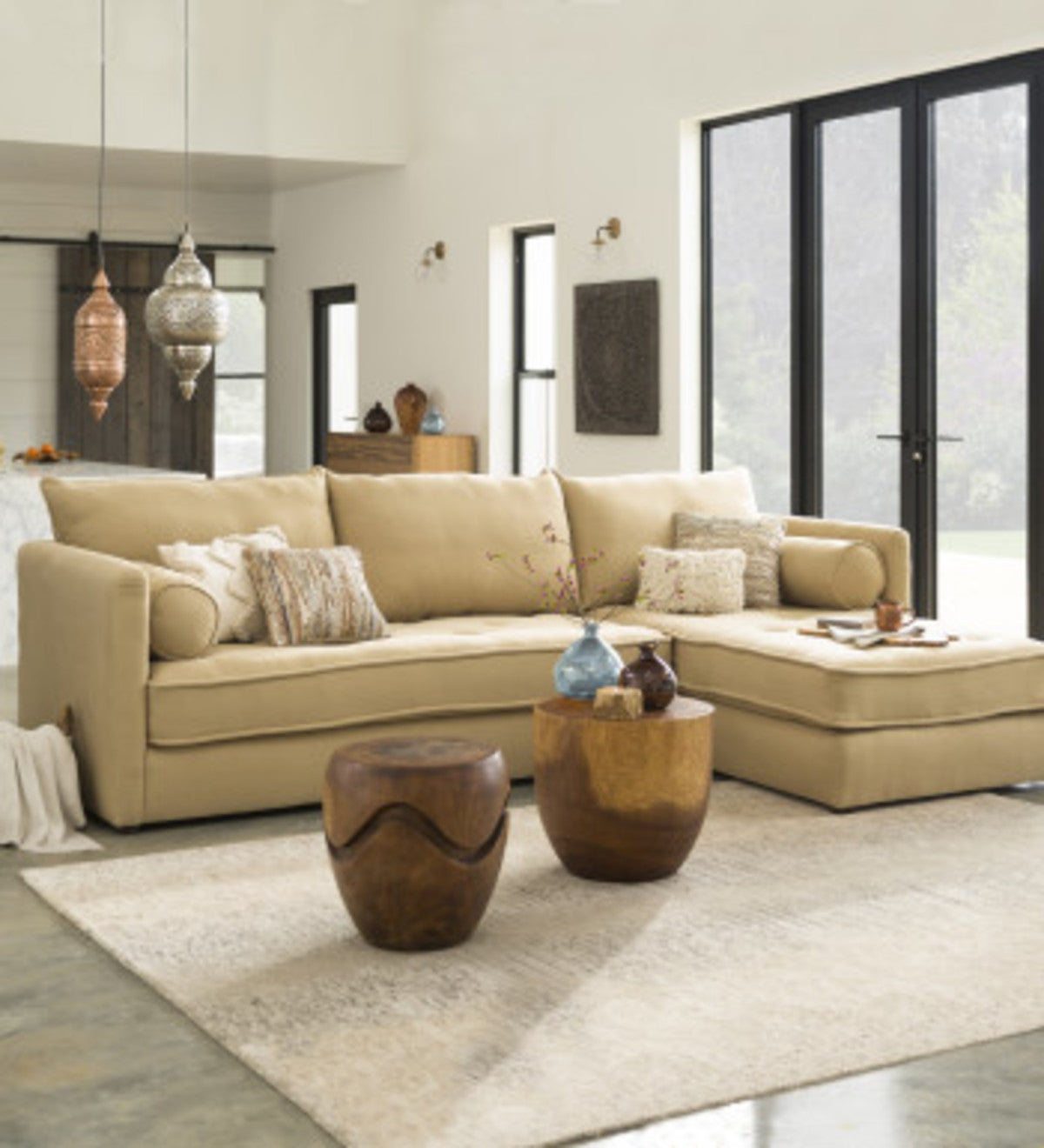 Eco Linen Sectional Sofa with Left Chaise - PLA Smoke