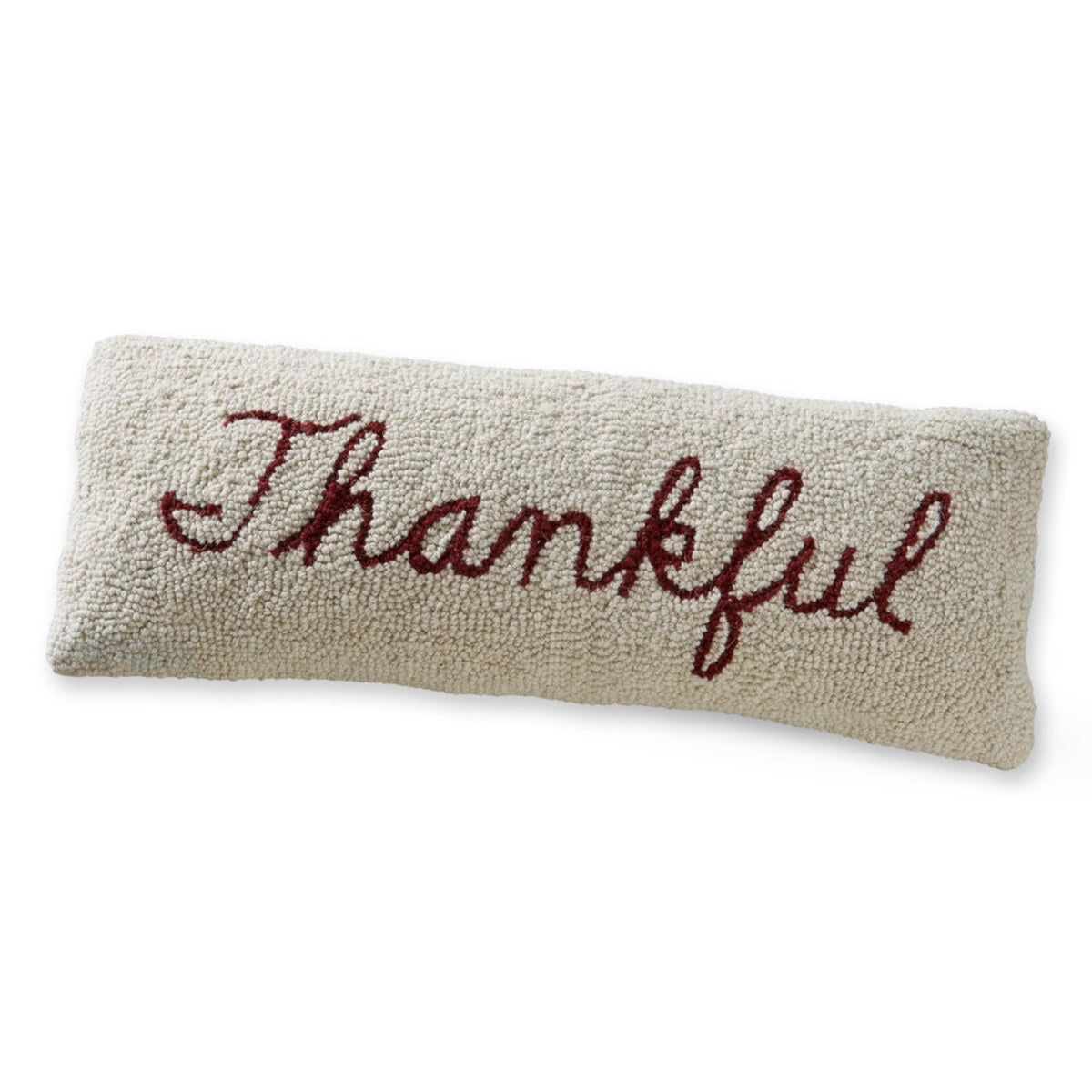 "Hand-Hooked Wool Thankful Lumbar Pillow 22"" x 8"" - Thankful"