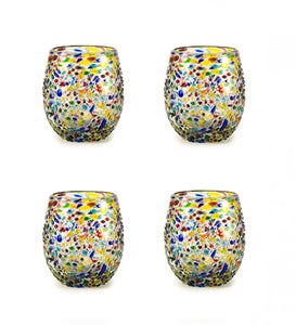 Confetti Recycled Stemless Wine Glass, Set of 4