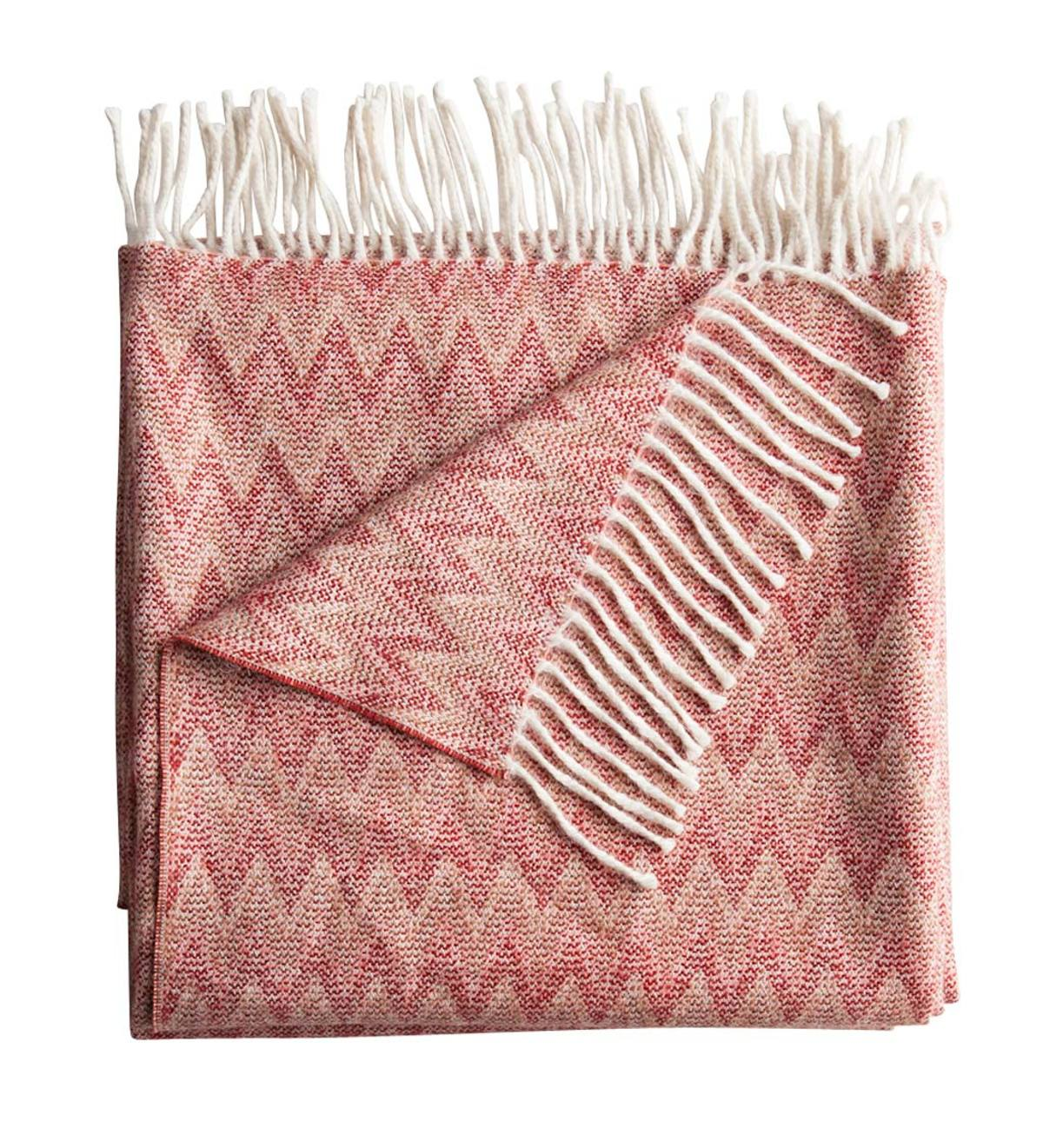 Fringed Chevron Baby Alpaca Throw