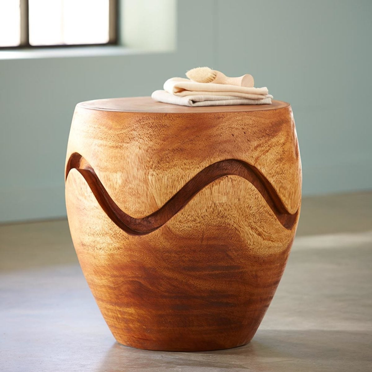 Handcarved Wooden Wave Stool