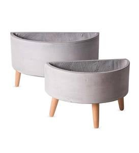 Arc Footed Planters, Set of 2 - Light Gray
