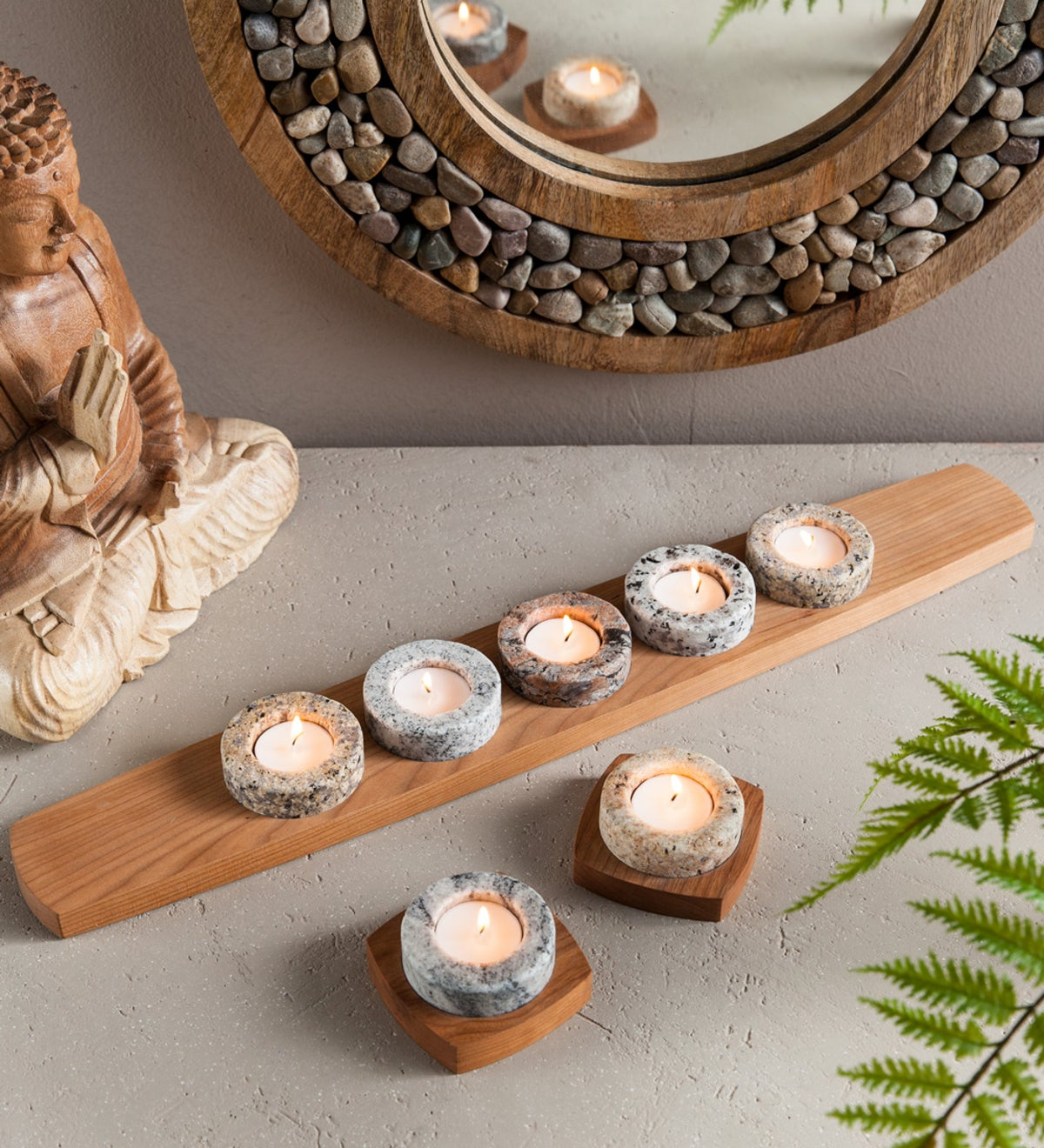 Granite & Cherry Meditation Candle Holders