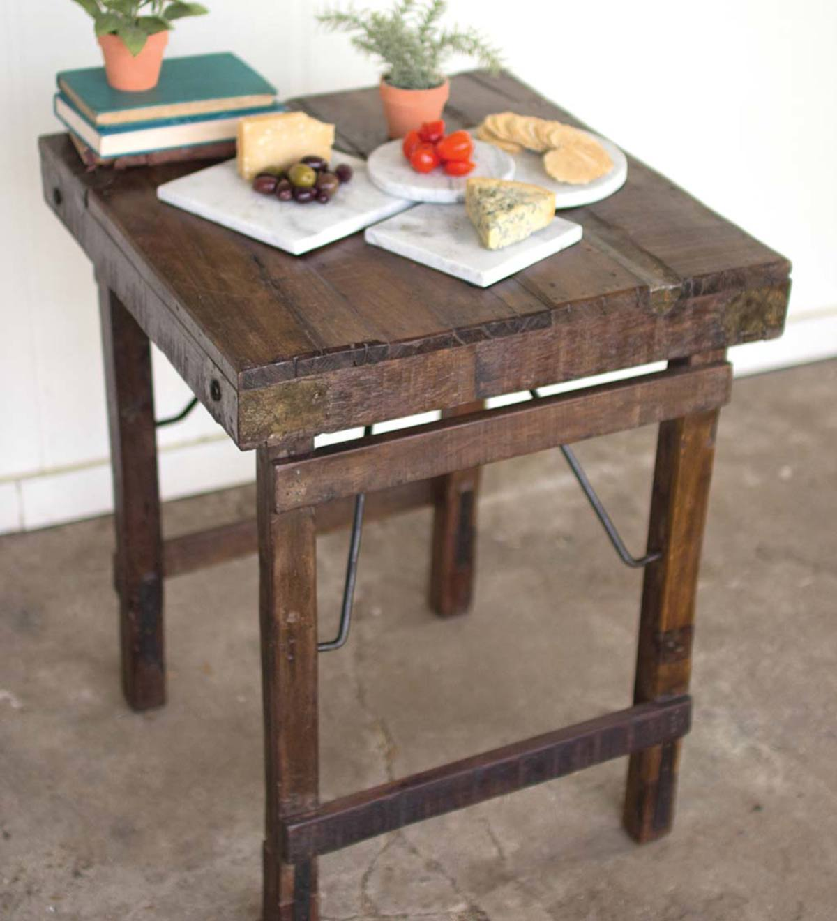 Reclaimed Antique Wooden Side Table with Folding Legs