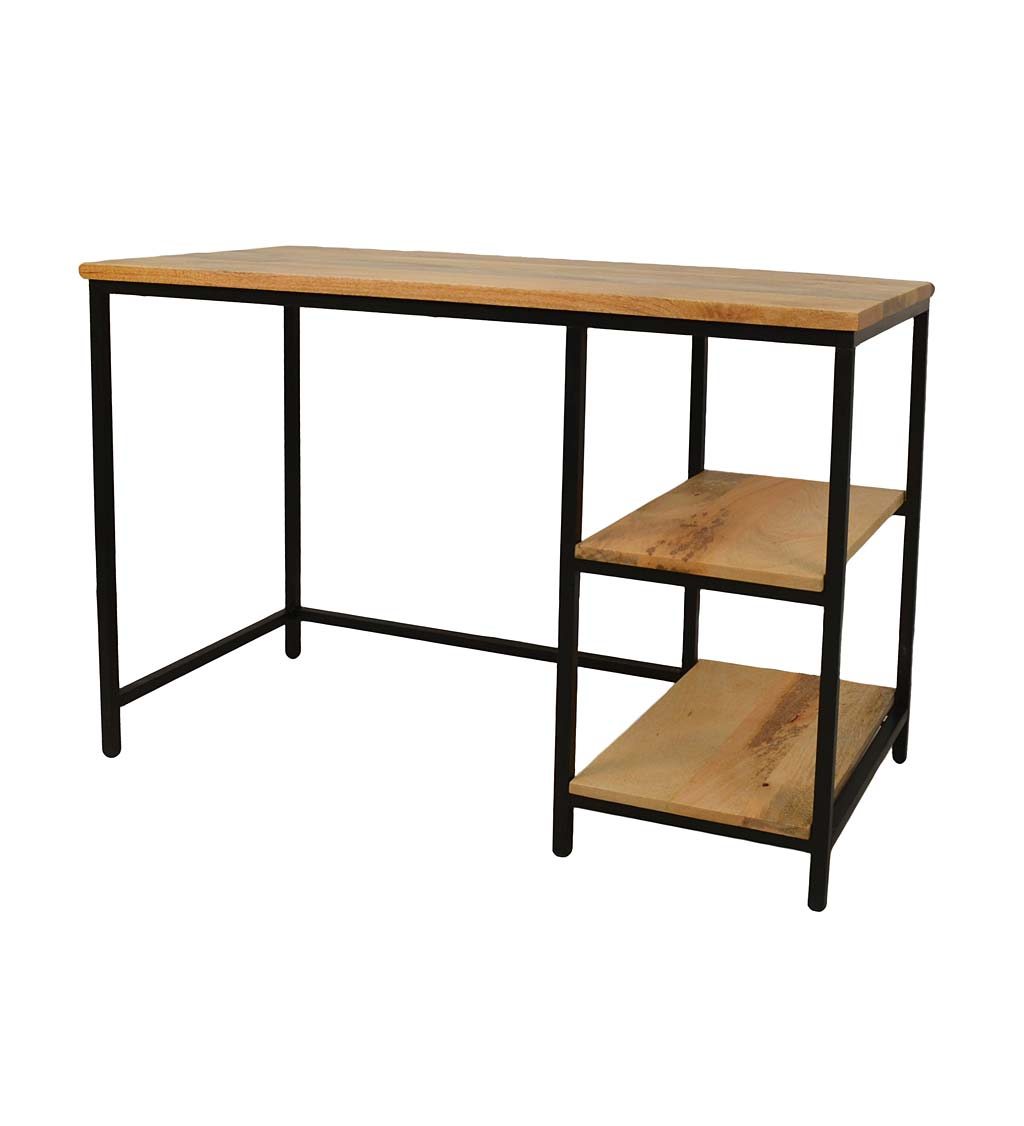 Industrial-Style Mango Wood and Metal Desk with Shelves swatch image