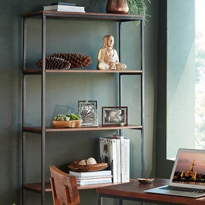 Rajah Mango Wood And Metal Frame Bookshelf