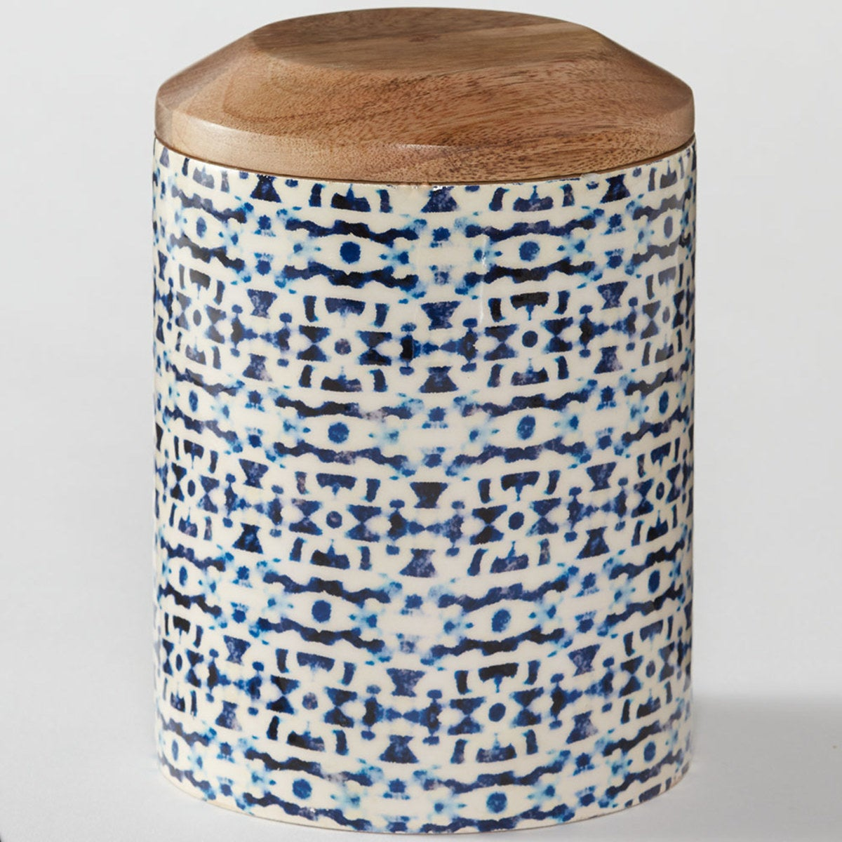 Tall Enamel Coated Mango Wood Canister - Jesse's Indigo