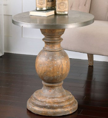 Reclaimed Fir Pedestal Accent Table Vivaterra