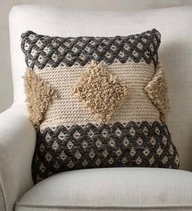 Woven Boho Textured Throw Pillow, Gray and Tan