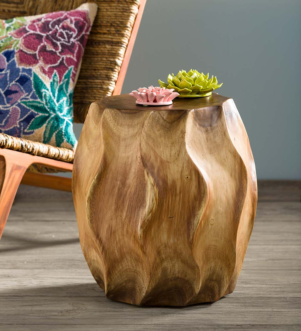 Rippled Handcarved Stool