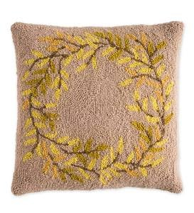 "Wool Hand Hooked Wreath Pillow, 16""Sq."