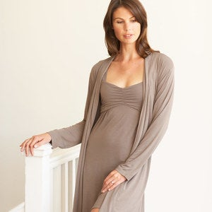 Eco-Weave Long-Sleeved Knee-Length Robe - Taupe - S-M