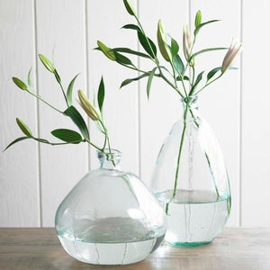 "Recycled Glass Balloon Vase, 13"" - Clear Tall"