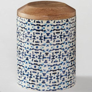 Enamel Coated Mango Wood Canisters