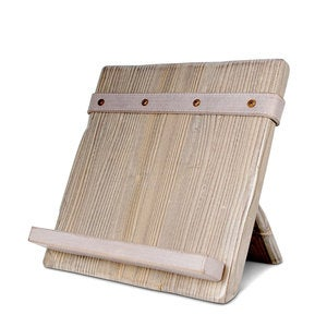 Reclaimed Wood and Salvaged Leather iPad/Cookbook Holder - Gray