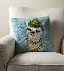 Decked Out Llama Hand-Hooked Wool Pillow