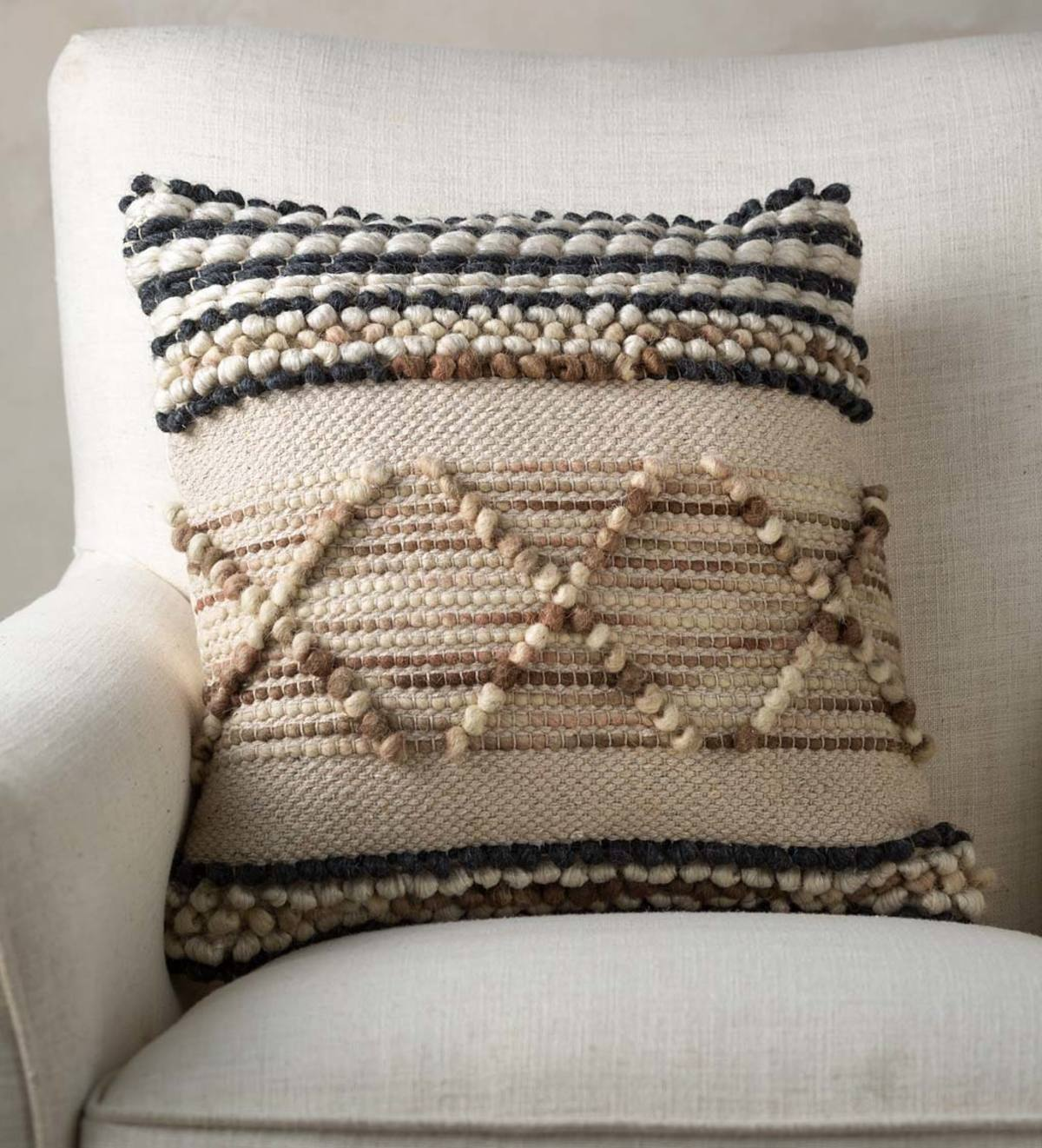 Woven Boho Textured Throw Pillow Striped Pebble Vivaterra