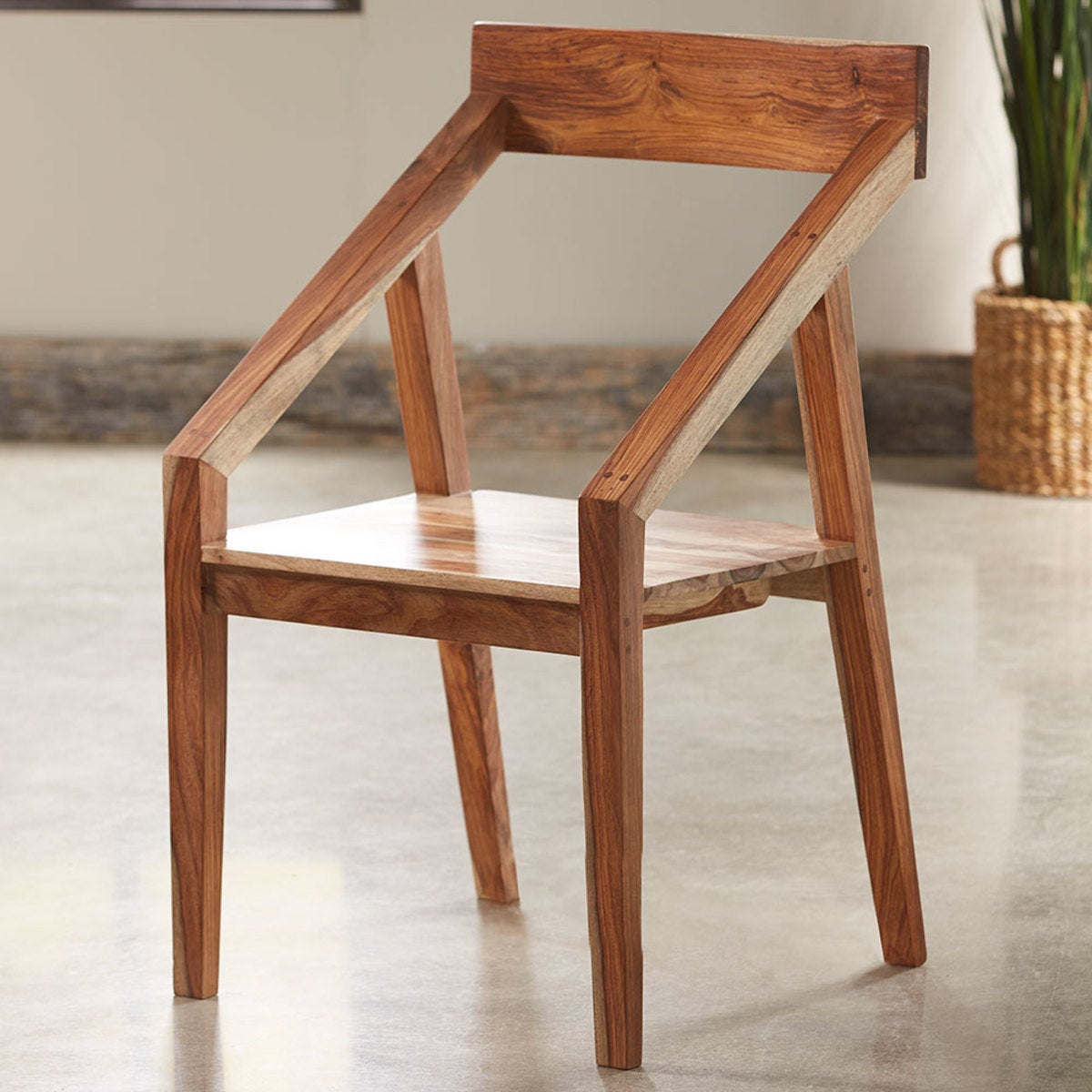 Sheesham Wood Angled Arm Chair