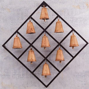"Diamond Framed Iron Bells, 32"" sq. x 5""D"