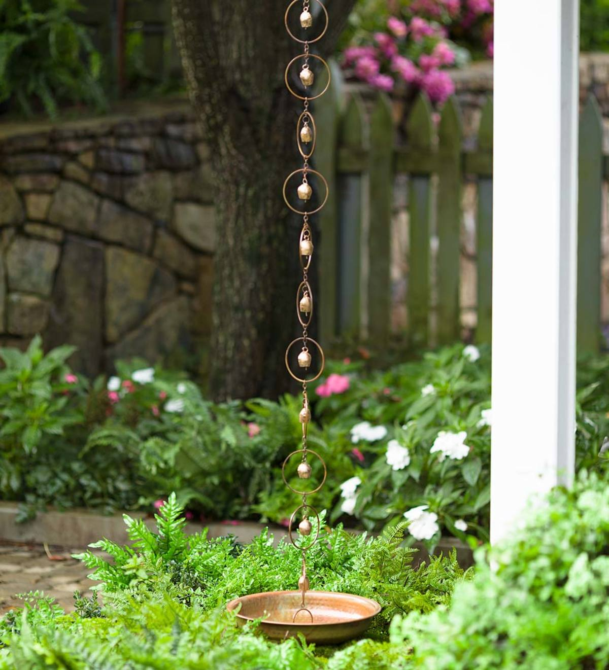 Temple Bell Rain Chain and Receptacle