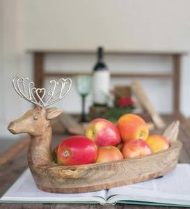 Hand Carved Reindeer Bowl