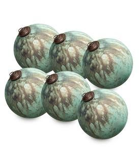 Speckled Mercury Glass Ornaments, set of 6
