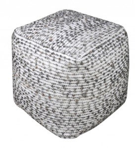 "Handwoven Cotton and Wool Cube Pouf, 18"" sq"