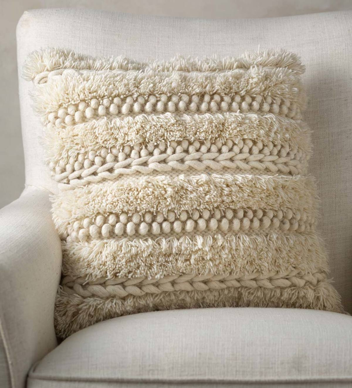 Woven Boho Textured Throw Pillow Cream Pebble Vivaterra