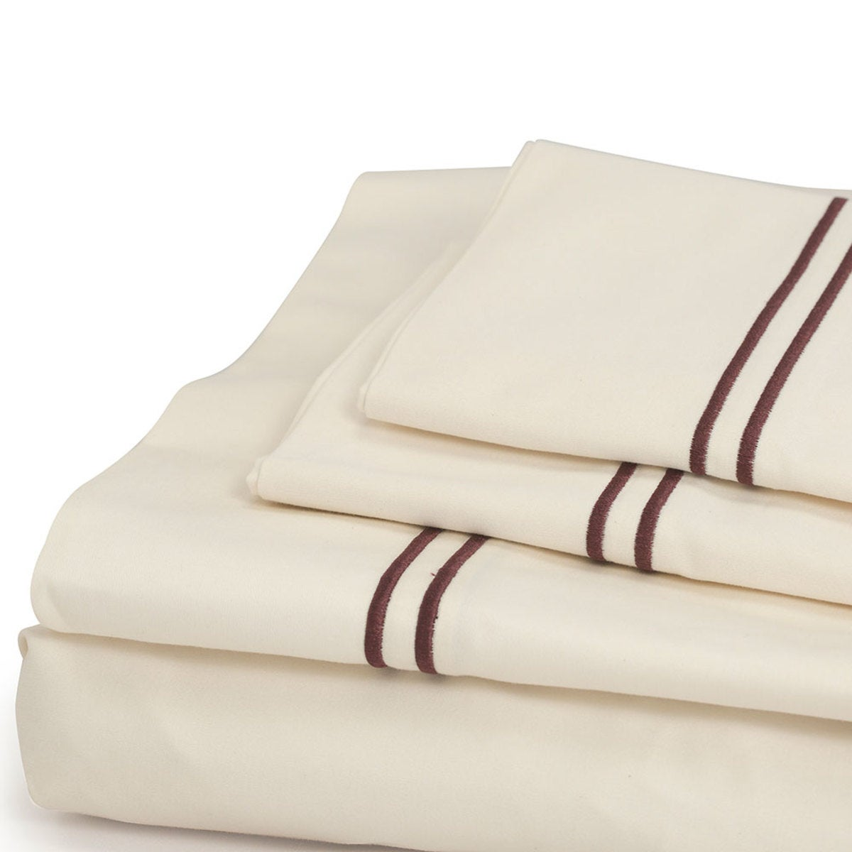 500 Thread Count Sateen Satin Stitch King Sheet Set - Ivory, Port