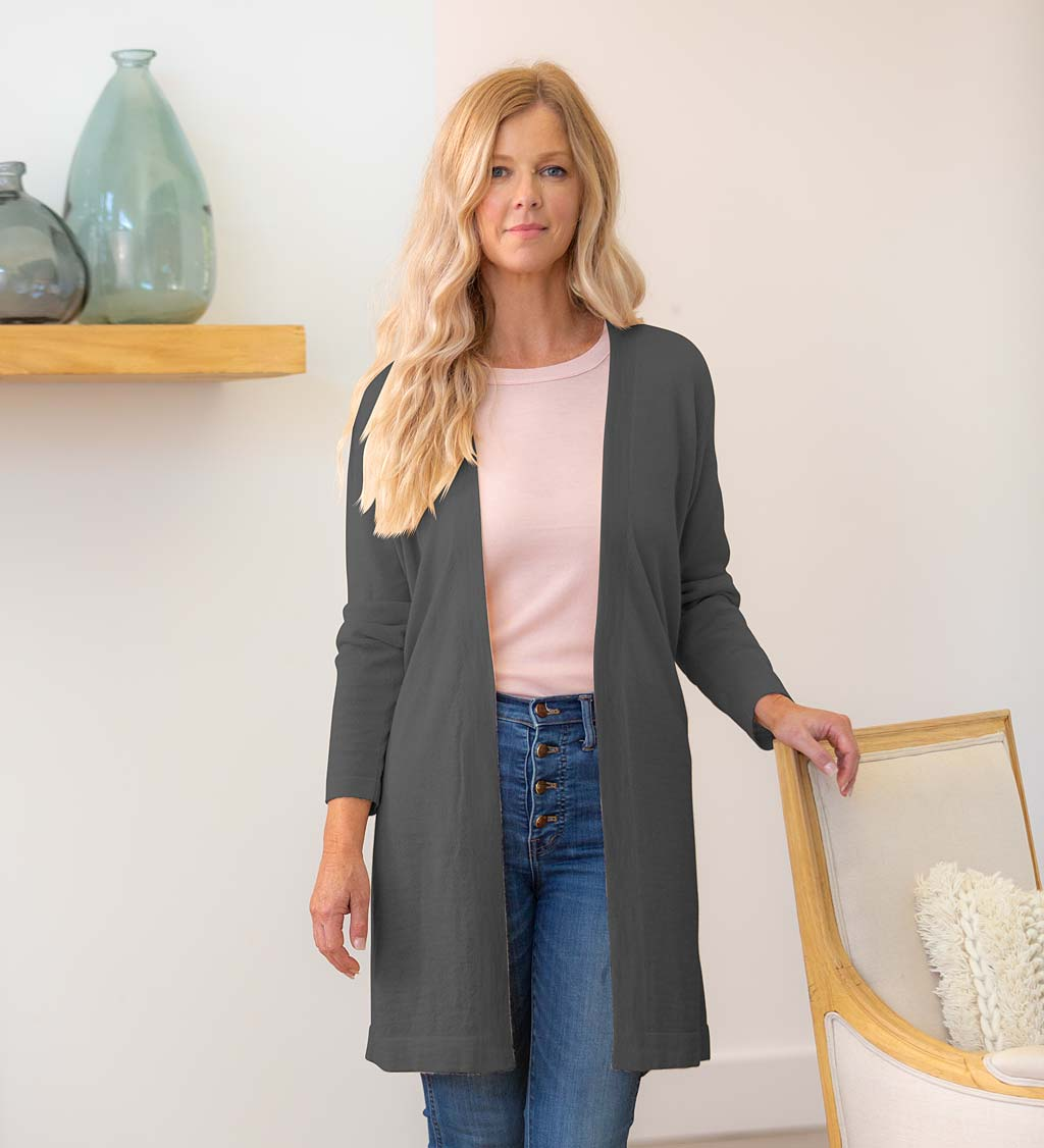 Alpaca-Blend Belted Long Cardigan - Tan - Small