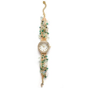 Hand-Beaded Agate And Pearl Watch - Green