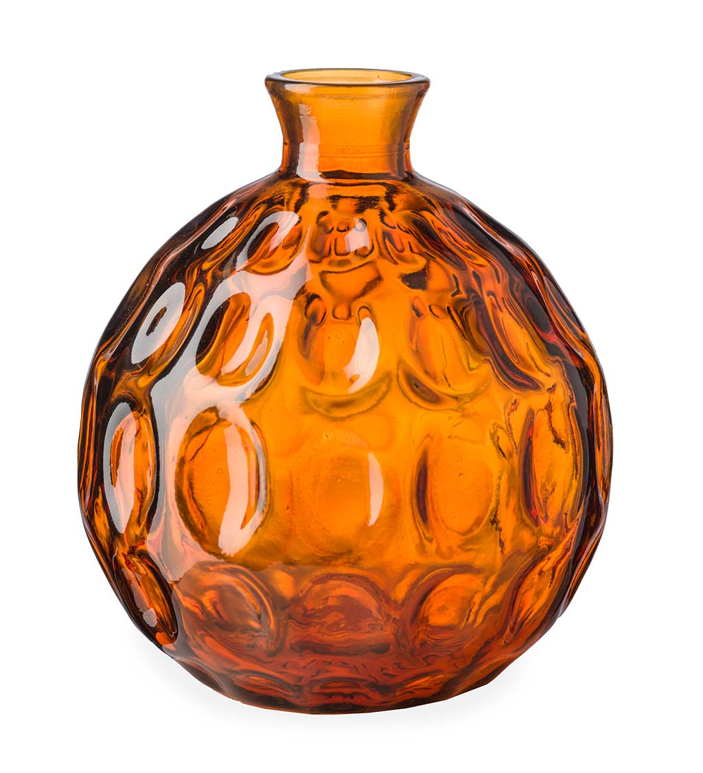 "Dune Round Recycled Dimpled Glass Vase, 7.5""H"