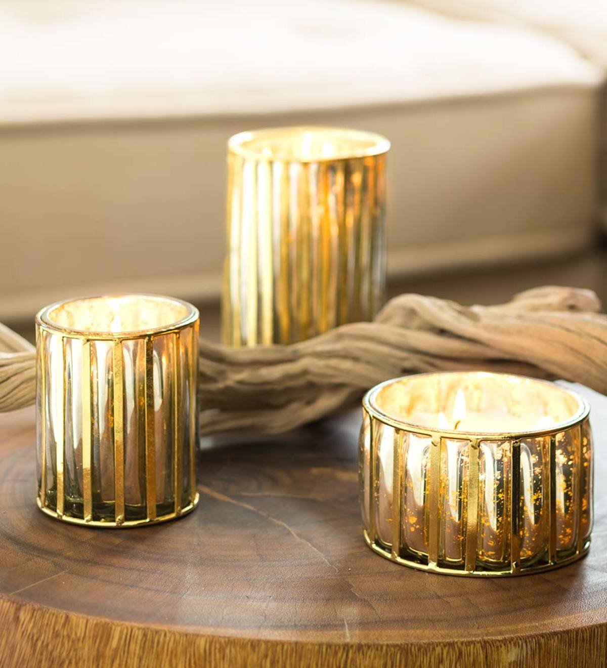 Gold Framed Mercury Glass Candles