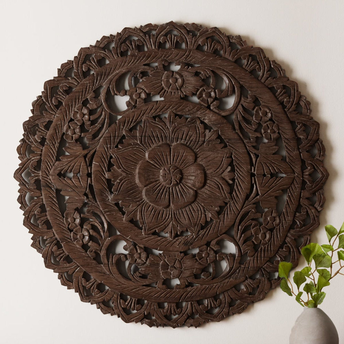 Round Lotus Flower Wall Panel - Dark Brown