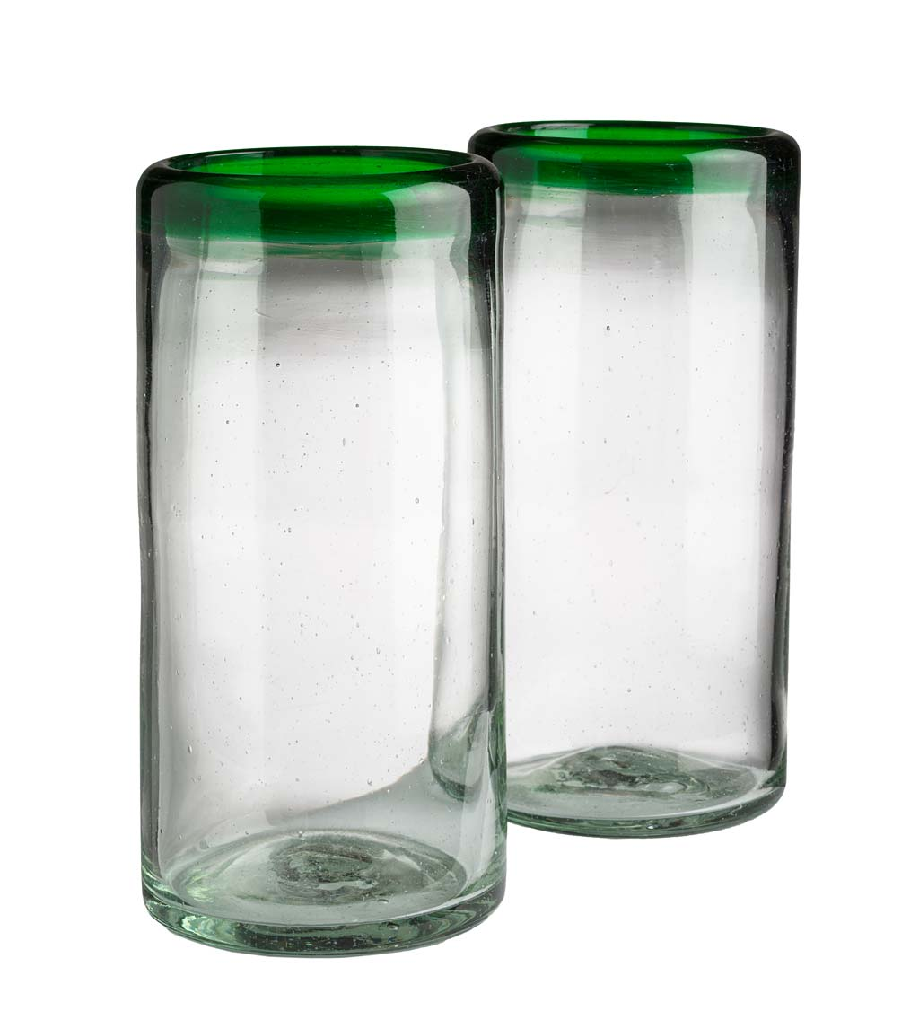 Color Rim Recycled Highball Glasses Set of 2