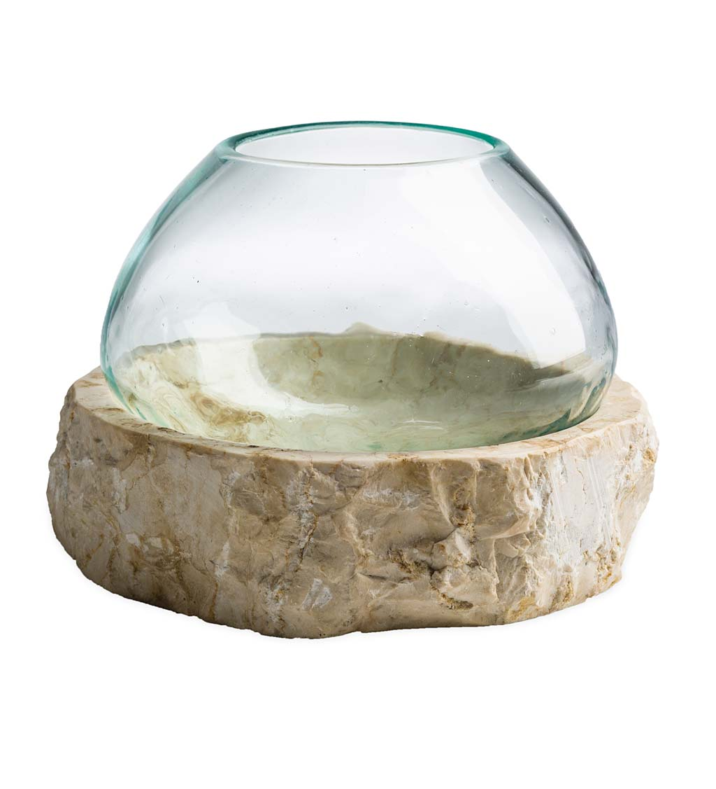 Recycled Glass Bowl on Marble Base Collection