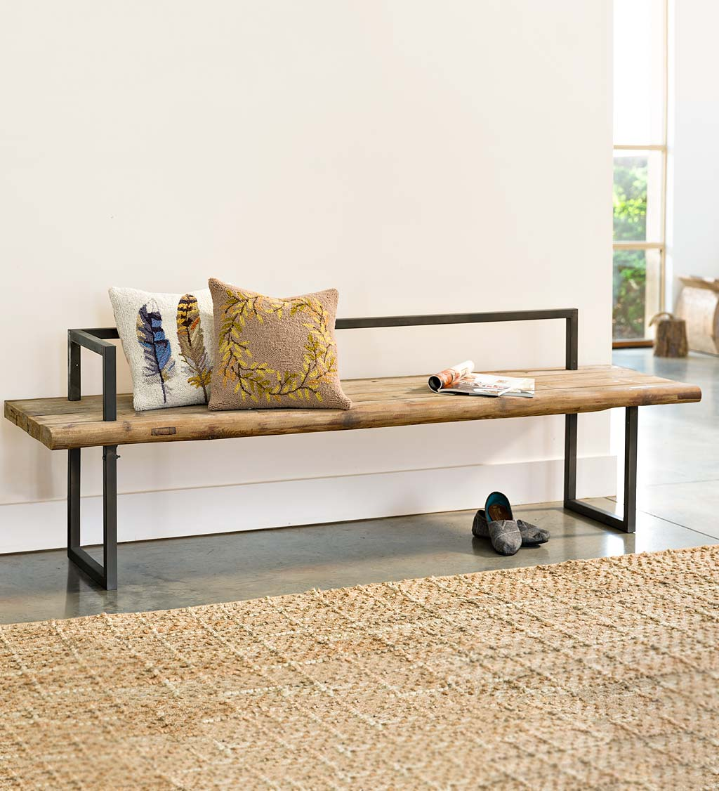 Metal and Recycled Wood Bench