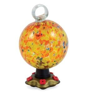 Recycled Glass Round Carnival Hummingbird Feeder