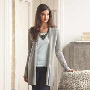 Lightweight Cashmere Duster Cardigan - Cream - S (4-6)